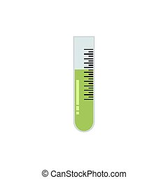 Simple flat test tube, colored, green, on soft white background, vector illustration for your web design.