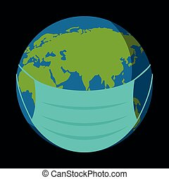Earth with medical mask