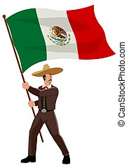 Mexican man in sombrero and traditional costume holding the flag of Mexico