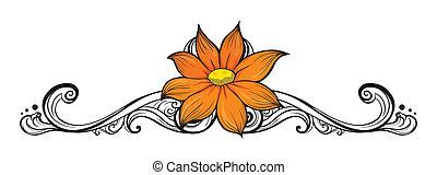 simple, fleur, frontière