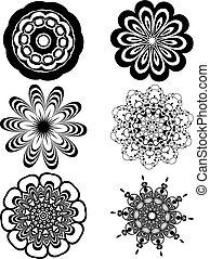 simple, fleurs blanches, noir