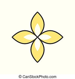 simple floral logo, filled outline