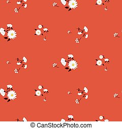 Simple florals red seamless vector pattern.
