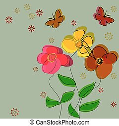 Simple flower vector background wit