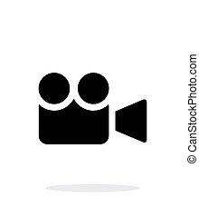 simple, fondo., blanco, cámara, icono