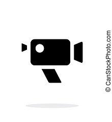 simple, fondo., cámara, retro, blanco, icono