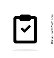 simple, fondo., portapapeles, blanco, cheque, icono