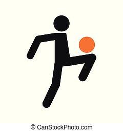 Simple Football Soccer Juggling Sport Figure Symbol Vector Illustration