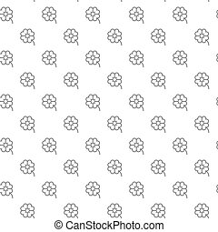 Simple four leaf clover seamless pattern with various icons and symbols on white background flat vector illustration