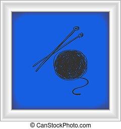 simple, garabato, agujas, tejido de punto, lana