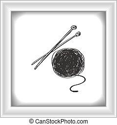 simple, garabato, de, lana, y, tejido de punto, agujas