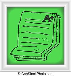 simple, garabato, de, un, examen, papel, actuación, ventaja