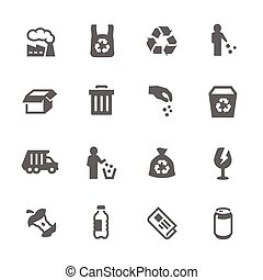 Simple Garbage Icons - Simple Set of Garbage Related Vector...