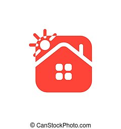 simple geometric negative space home square vector