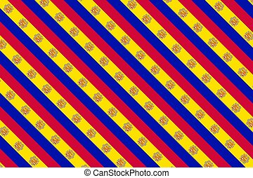 Simple geometric pattern in the colors of the national flag of Andorra
