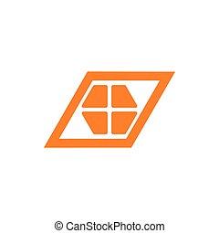 simple geometric window trapeze logo vector