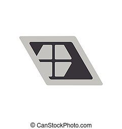simple geometric window trapeze shape logo vector