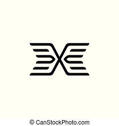 simple geometric wings line logo vector