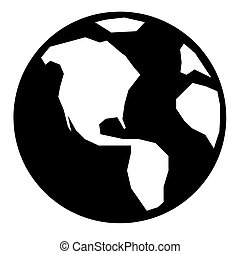 A simple black and white earth illustration.