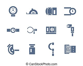 Simple glyph measuring tools vector icons set - Metrology...