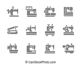 Simple glyph sewing machines vector icons set