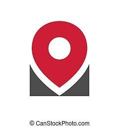 Simple gps pointer logo, location pin icon design