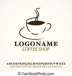 simple, gráfico, café, icono, taza