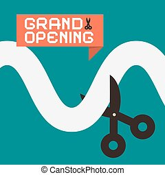 Simple Grand Opening Flat Design Card with Scissors