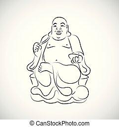 simple, grand, thaï, bouddha, dessin
