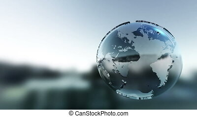 Simple graphic 3D globe rotating