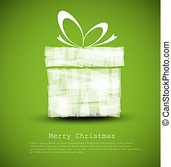 Simple green Christmas card with a gift