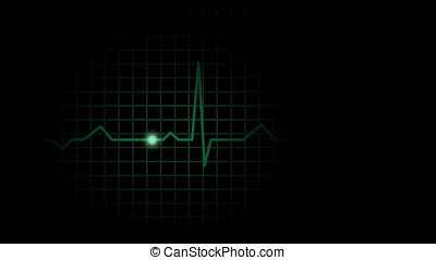 Simple green electrocardiograph pulsation display