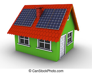 Simple green house with solar panels on the roof. 3d...