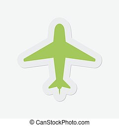 simple green icon - airplane