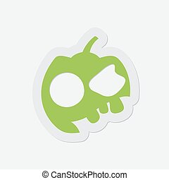 simple green icon - Halloween pumpkin