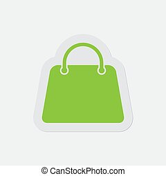 simple green icon - handbag, bag