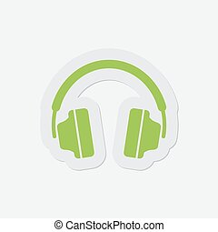 simple green icon - headphones