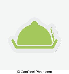 simple green icon, serving tray with lid and smoke