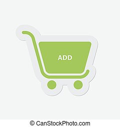 simple green icon - shopping cart add