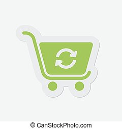 simple green icon - shopping cart refresh