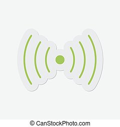 simple green icon - sound or vibration symbol - simple green...