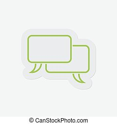 simple green icon, two outline speech bubbles