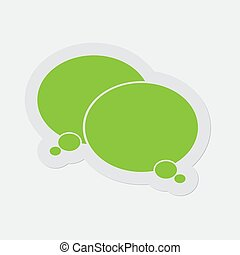 simple green icon - two thinking speech bubbles