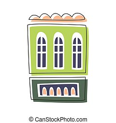 Simple Green Living House, Cute Fairy Tale City Landscape Element Outlined Cartoon Illustration