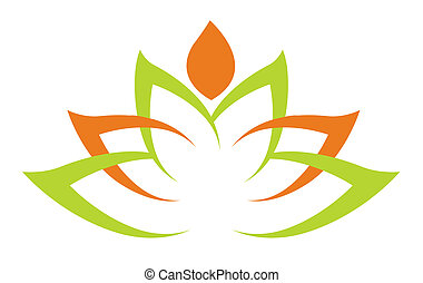 Simple green lotus plant - vector illustration