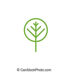 Simple Green Tree icon. Vector illustration isolated on white background.
