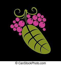 Simple green vector leaf of deciduous tree, stylized nature...