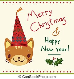 greeting card with a cat in a Christmas hat