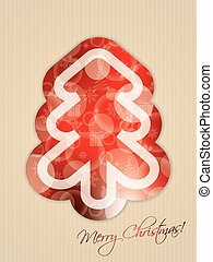 Simple greeting with abstract christmas tree