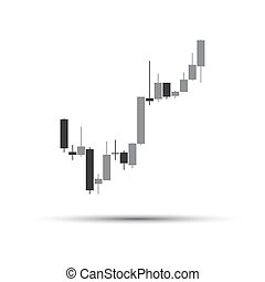 Simple grey candlestick chart isolated on white background, trading graphic design concept, financial stock market, cryptocurrency graph, vector illustration